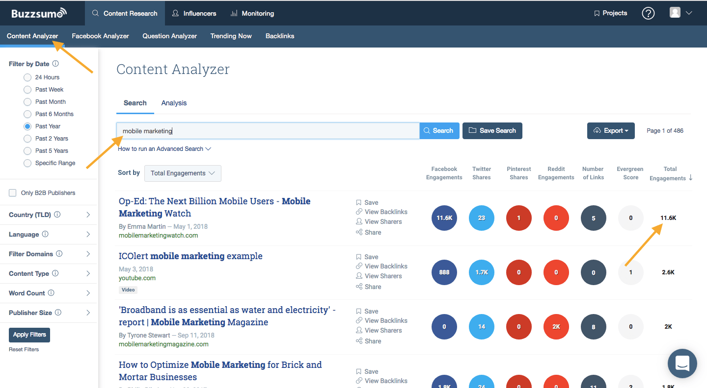 BuzzSumo Content Analyzer to find evergreen content