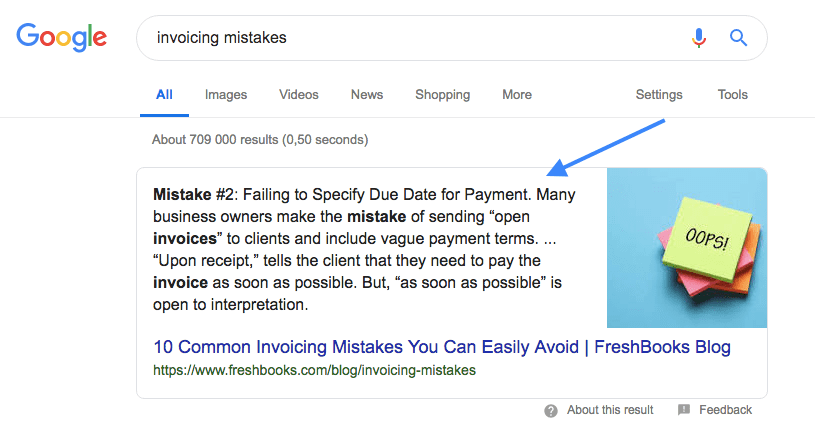example of a Google featured snippet
